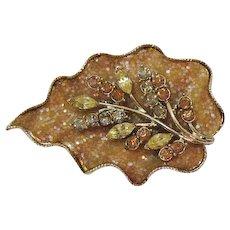 Signed Coro Unusual Vintage Glitter Rhinestone Fall Leaf Brooch