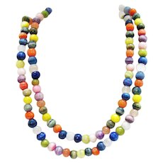 Gorgeous Vintage Colorful Gemstone Beaded 35 Inch Necklace