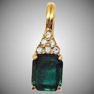 Signed Roman Vintage Huge Emerald Cubic Zirconia Pava Rhinestone Enhancer