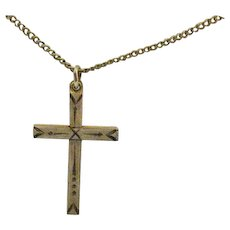 Signed Carl Art 12K Gold Filled Vintage Etched Cross Pendant Necklace FREE SHIPPING