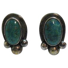Mid Century Vintage Silver Natural Turquoise Screw Back Earrings