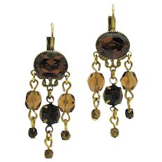 Signed Kirks Folly Retired Vintage Cognac Rhinestone Beaded Dangle Pierced Earrings