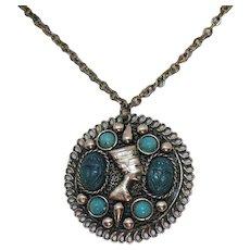 Unusual Fabulous Vintage Nefertiti Faux Scarab Turquoise Pendant Necklace FREE SHIPPING