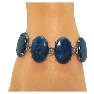 Scarce Antique Signed Wachenheimer Art Deco Sodalite Sterling Silver Bracelet