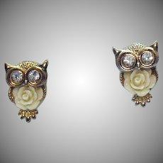 Cutest Vintage Figural Rhinestone Owl Pierced Earrings with Rose Belly