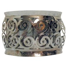 Interesting Vintage Silver Aluminum Two Layer Swirling Wide Cuff Bracelet