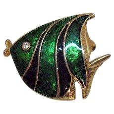 Sparkling Vintage Figural Angel Fish Emerald Green Enameled Rhinestone Brooch