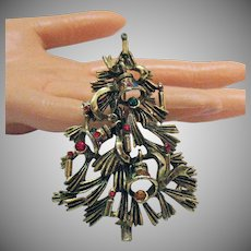 BOOK Vintage Bold Christmas Tree Brooch Bells Candle Sticks Rhinestones