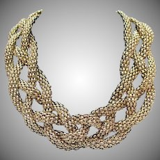 Amazing Braided Mesh Yellow Gold Plated Vintage Necklace BOLD