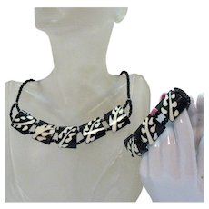 Unusual Vintage Black White Bakelite Naturalistic Necklace Bracelet Set
