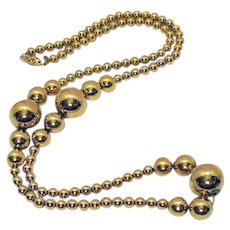 Bold Vintage Signed Napier Golden Beaded Chain Necklace