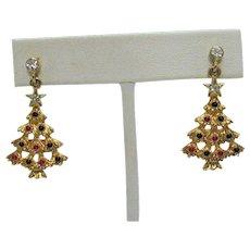 Signed Eisenberg Ice Vintage Christmas Tree Pierced Earrings