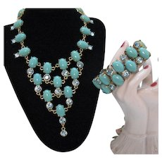 Signed CN Crown Nine Jewelry French Vintage Bib Necklace Matching Bracelet Faux Turquoise Blue Rhinestones