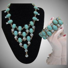 Signed CN Crown Nine Jewelry French Vintage Bib Necklace Matching Bracelet Faux Turquoise Blue Rhinestones