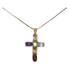 Gorgeous Vintage Gemstone Cross Necklace Sterling Silver with Gold Wash