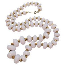 Signed Napier Vintage White Lucite Beaded Necklace
