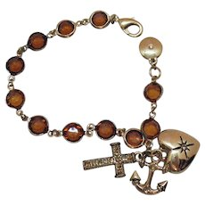 Signed JNY Vintage 1990s Amber Glass Collet Stone Charm Bracelet Cross Heart Anchor