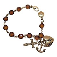 Signed JNY Vintage 1990s Amber Glass Collet Stone Charm Bracelet Cross Heart Anchor FREE SHIPPING