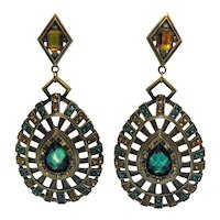 Gorgeous BOLD Heavy Metal Statement Rhinestone Pierced Earrings 4 Inches long FREE SHIPPING