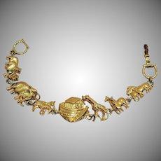 Signed Premier Design Jewelry Figural Vintage Golden Noah's Ark Bracelet