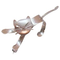 Cutest Signed Beau Vintage Sterling Silver Mechanical Kitty Cat Brooch