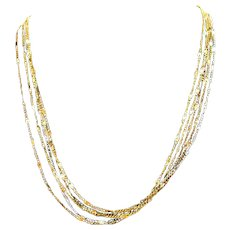 Sparkling Signed Eisenberg Vintage Five Strand Chain Necklace Mixed Metals