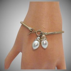 Signed Jewels by Park Lane Vintage Snake Chain Faux Pearl Charm Bracelet