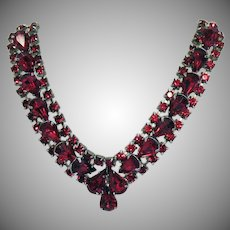 Unsigned Eisenberg Red Rhinestone Spectacular Vintage Necklace