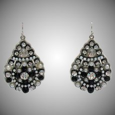 Weighty Vintage Sterling Silver Faux Pearl Diamond Black Glass Pierced Earrings
