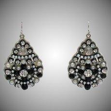 Weighty Vintage Sterling Silver Faux Pearl Diamond Black Glass Pierced Earrings