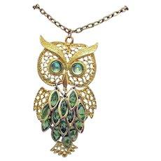 Fabulous Vintage BIG Peridot Glass Figural Owl Necklace