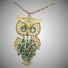 Fabulous Vintage BIG Peridot Glass Figural Owl Necklace