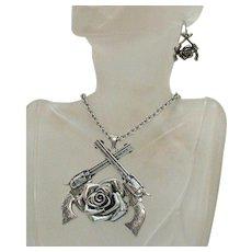 Unusual Vintage Guns N' Roses Heavy Metal Figural Necklace Pierced Earrings Set