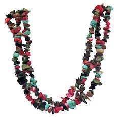Gorgeous Vintage Three Strand Gemstone Necklace
