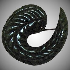 Bakelite Etched Naturalistic Art Deco Era Vintage Brooch