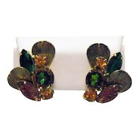 Gorgeous Juliana D&E DeLizza Elster Vintage Costume Art Glass Rhinestone Clip Earrings FREE SHIPPING