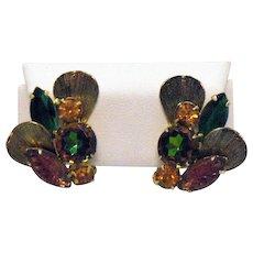 Gorgeous Juliana D&E DeLizza Elster Vintage Art Glass Rhinestone Clip Earrings
