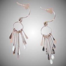 Delicate Signed 925 IPP Vintage Sparkling Dangle Pierced Earrings