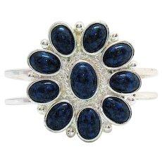 Big Bold Vintage Faux Lapis Glass Hinged Bracelet