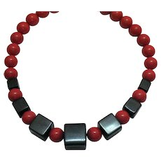 Bold Lucite Vintage Pop Art Red Bead Black Square Beaded Necklace