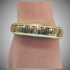 Gorgeous Vintage Golden Greek Key Bangle Bracelet