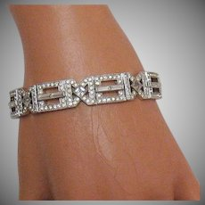 Exquisite Art Deco Signed EB Engel Brothers Bracelet Sterling Silver Geometric Rhinestones