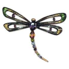 Unusual Signed Monet Vintage Dragonfly Enameled Rhinestone Jewel Tone Figural Brooch