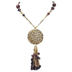 Gorgeous Art Glass Beaded Vintage Costume Necklace Swirl Medallion Cultured Pearls FREE SHIPPING