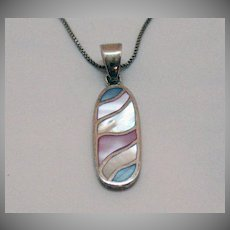 Beautiful Signed AGI Italy Inlay Pastel Color Shell Vintage 925 Necklace