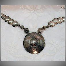 Fantastic Vintage Bold Silver Hammered Metal Necklace
