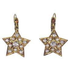 Super Fun Vintage Crystal Rhinestone Star Pierced Earrings Lever Back