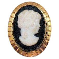 Gorgeous Signed Amco Vintage 14K GF Black White Cameo Convertible Brooch Pendant