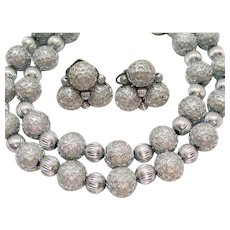 Vintage Silver Mesh Rapped Beaded Signed Necklace Clip Earrings Set
