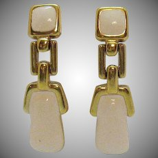 Signed Monet Vintage Off White Doorknocker Pierced Earrings